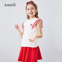 【活动价:233.91】安奈儿童装女童连衣裙套装2020夏季新款中大童时尚网红伞裙子套装
