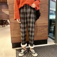 冬季加绒裤子女学生韩版宽松哈伦裤显瘦九分萝卜裤直筒阔腿休闲裤