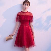 敬酒服新娘2018新款夏季优雅修身显瘦短款结婚晚礼服公主连衣裙女 酒红色短款 X