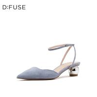 【领券减100】D:Fuse/迪芙斯2019春夏新款尖头一字踝带小猫跟凉鞋女DF91114271