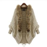 秋冬大�a女�b毛衣�L袖��松毛�I���_衫外套蝙蝠披肩 均�a90斤到160斤