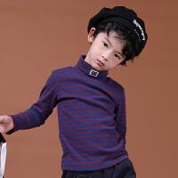 【双12限时购】童装男女儿童纯棉质英伦风休闲潮流条纹高领长袖T恤