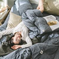 床上四件套1.5米1.8双人床网红北欧简约素色棉被套全棉床单