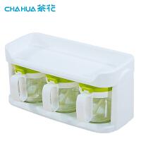 玻璃调味盒调味罐套装双层家用厨房调味瓶罐盐罐调料400ml*3