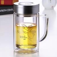 双层玻璃杯透明带手柄盖过滤大容量水杯办公杯男女士杯子320