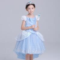 灰姑娘女童公主裙儿童秋装裙子连衣裙童装迪士尼长裙冰雪奇缘爱莎