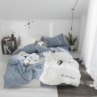 网红纯色双拼色织水洗棉四件套全棉纯棉裸睡水洗床上用品床笠床单被套单人三件套