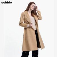 [9月12日3件7折到手价:502元]ochirly欧时力新女秋装翻领系带长袖纯羊毛呢外套大衣1JZ3345650