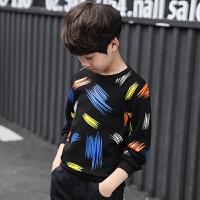 儿童长袖加绒T恤衫2018秋冬新款上衣中大童加厚打底衫男孩