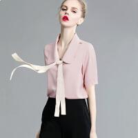 新款白衬衫女蝴蝶结小衫打底衫夏季职业宽松飘带大翻领短袖雪纺衫