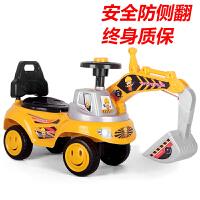六一儿童节礼物儿童挖机可坐可骑挖掘机玩具滑行男孩玩具车可骑大号超大工程车挖土机电动 升级黄 有灯光 有音乐 挖头 可上