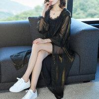 防晒衣女中长款韩版夏季外搭空调衫宽松大码雪纺连帽开衫薄外套潮