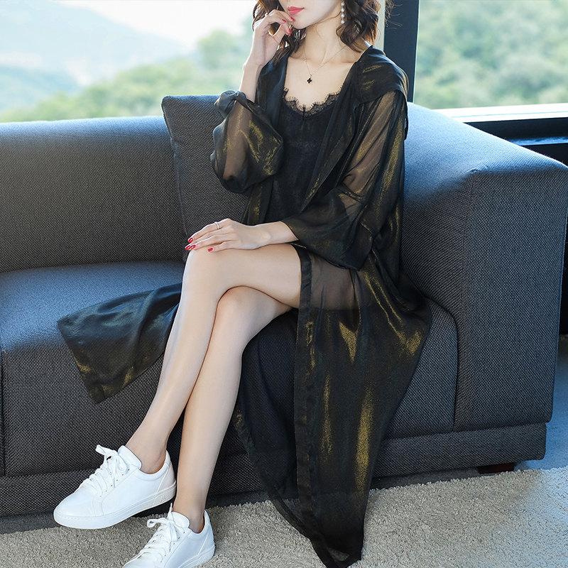防晒衣女中长款韩版夏季外搭空调衫宽松大码雪纺连帽开衫薄外套潮 发货周期:一般在付款后2-90天左右发货,具体发货时间请以与客服协商的时间为准