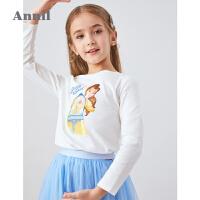 【3件3折价:59.7】安奈儿童装迪士尼女童T恤长袖2020新款洋气公主打底衫纯棉上衣秋
