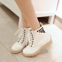 彼艾2017秋冬季新款女靴子韩版学院学生短靴内增高甜美系带靴平底防滑马丁靴女靴