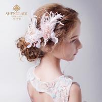 儿童头饰韩式女孩发夹粉色头花饰品公主花朵演出配饰