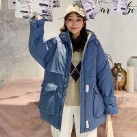 工装女中长款韩版棉衣宽松加厚棉袄冬季 ins学生外套 S 75~105斤
