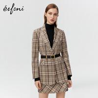 伊芙丽新款冬季格纹高腰裙子女半身裙1AA240381