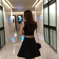 连衣裙女夏2019新款女装性感时尚露腰心机裙子赫本小黑裙女潮 黑色