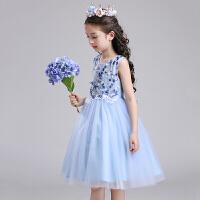 儿童公主裙子夏装女童连衣裙2018新款夏季蓝色蓬蓬纱裙小女孩衣服 蓝色 收藏送皇冠