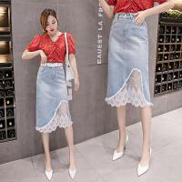 网纱蕾丝牛仔半身裙女春装新款韩版ins时尚百搭破洞包臀短裙