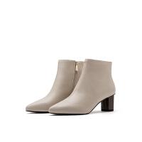 菲伯丽尔2019秋季新款尖头高跟粗跟时装靴女FB93116026
