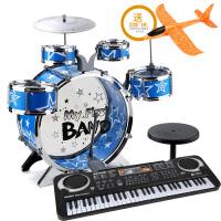 宝宝架子鼓打击乐器儿童爵士鼓音乐玩具1-3岁初学者男孩10岁 落地五鼓蓝(琴 棒2 凳 鼓谱)