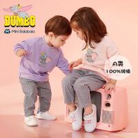 【1件6折】迷你巴拉巴拉婴儿裤子2019秋新款男女宝宝小飞象印花格子纯棉长裤