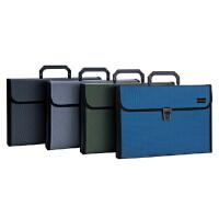 得力手提式风琴包5555 公文包文件包 12袋 A4实色PP手提包 公司礼品