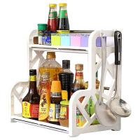 JH0998 家用多功能收纳架 塑料不锈钢置物架稳定省空间调味瓶架子厨房多层储物架子 咖啡色