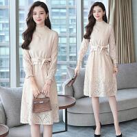 秋装女2018新款套装裙秋季裙子两件套长袖蕾丝连衣裙