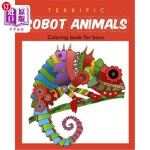 【中商海外直订】Terrific Robot Animal Coloring Book for Boys: ROBOT
