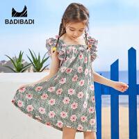 【6.8秒杀价:49】巴拉巴拉旗下2019夏季新款女童中大童时尚流苏甜美印花连衣裙