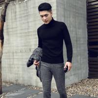 秋冬季日本潮流个性高领毛衣韩版修身针织衫纯色黑色男女打底衫潮
