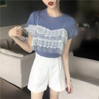 欧美女装蕾丝短袖t恤女夏季韩版女装新款蕾丝拼接假两件上衣圆领短袖针织针织衫百搭T恤 均码