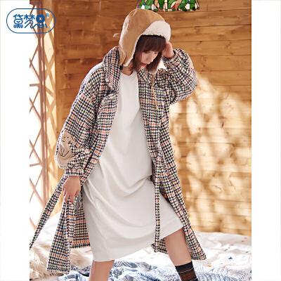 冬季加厚保暖珊瑚绒睡衣女秋冬长袖系带女士睡袍休闲可外穿家居服