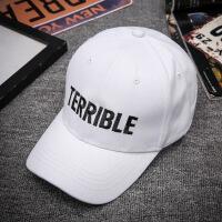 帽子女士韩版鸭舌帽 青年帅气男遮阳帽 春季新款棒球帽 TERRIBLE字母全白色JX743 可调节