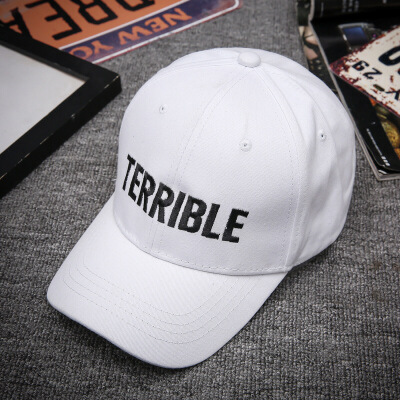 帽子女士韩版鸭舌帽 青年帅气男遮阳帽 春季新款棒球帽 TERRIBLE字母全白色JX743 可调节 发货周期:一般在付款后2-90天左右发货,具体发货时间请以与客服协商的时间为准