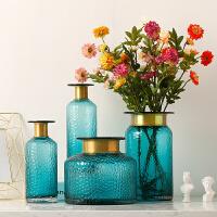 玻璃花瓶摆件 仿真花假花摆件 家居客厅电视柜餐桌插花水培花器