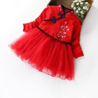 女童加厚加绒连衣裙童装裙子儿童宝宝长袖公主旗袍裙2018冬季 红色18679 加绒裙