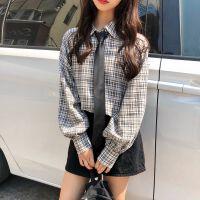 秋冬装韩版两件套针织马甲背心时尚女学生+慵懒风格子衬衫潮