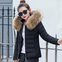 2019冬装韩版女短款大毛领修身显瘦加厚大码棉衣外套