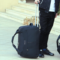 旅行包女手提行李包男大容量拉杆包折叠防水旅游包韩版登机箱包潮 黑色 大