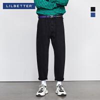 2.5折价:87;Lilbetter牛仔裤男潮牌韩版裤子潮流宽松直筒裤男士黑色牛仔长裤