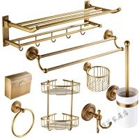 仿古毛巾架铜挂件套装浴室卫浴置物架复古欧式浴巾架卫生间套装