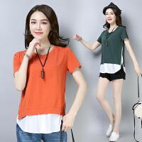 2019短袖T恤女夏装新款韩版半袖打底衫 中长款体恤宽松假两件上衣
