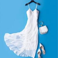 白色连衣裙吊带夏性感 超仙气质修身真丝长款长裙 高端时尚沙滩裙