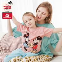 迷你巴拉巴拉短袖T恤亲子装米奇米老鼠2020夏装女童长款T恤母女装