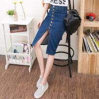 包臀牛仔半身裙女2018新款弹力薄款显瘦中长款高腰牛仔一步裙夏季 蓝色