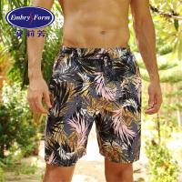 【1件直降到手价:389元】安莉芳泳裤男士个性热带印花沙滩裤宽松系带五分泳裤EH0894